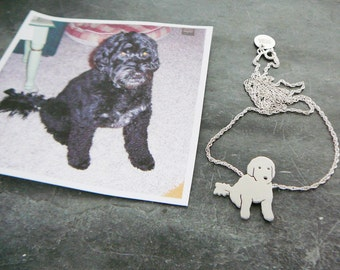 Your Pet Pendant Custom TaGette Necklace .. Sterling Silver Dog silhouette Jewelry Memoralize Keepsake, Mothers Day Gift