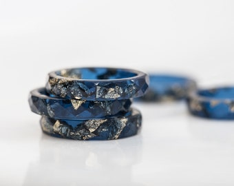 Deep Blue Resin Stacking Ring Gold Flakes Thin Faceted Ring OOAK minimalist jewelry indigo blue