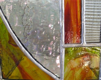 Tiffany stained glass candle holder : red, green, grey and clear granite