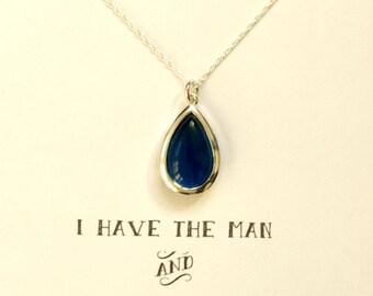 Navy Blue Bridesmaid Necklace Silver, Blue Bridesmaid Necklace, Bridesmaid Jewelry Gift, Bridal Party Gifts, Dark Blue, NK1