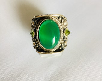 Silver ring 925 with agate and peridot