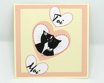 "Simple card pink and beige Valentine couple cats inscription ""love"""