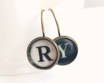Renee - typewriter Key Personalized Earrings -  Antique Brass - Monogram Earrings