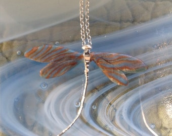 Sterling Silver and Polymer Clay Blue, Gold and Brown Striped Dragonfly Pendant with Chain