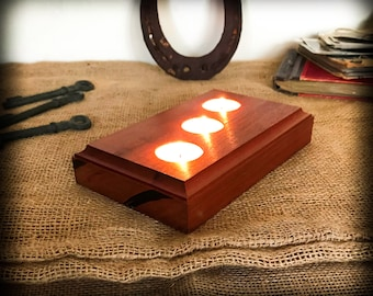 Red Wood Candle Holders, 3 Tea Lights, Candle Holder Minimalist Design, Boho Wedding Candle Bra