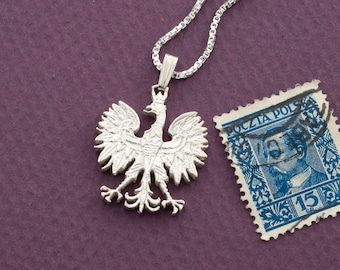 """Silver Polish Eagle Pendant and Necklace, Hand cut Polish five Zlotch Coin, Silver Polish Eagle Jewelry, 7/8"""" in diameter, ( # 256S )"""