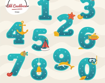Numbers clipart, birthday numbers, school numbers, vector graphics, digital clip art, vector clipart, digital images  CL033
