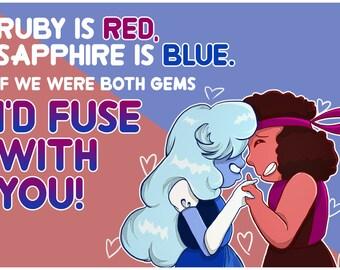 Steven Universe Ruby Sapphire Fusion Valentine / Love Note Card