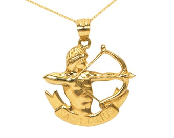 14k Yellow Gold Sagittarius Necklace