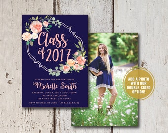 College Graduation Invitation Printed or Printable, High School Graduation Announcement, Class of 2018 Printed Senior Announcement Cards