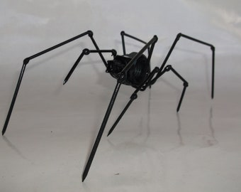 Spider metal recycled art, black widow spider