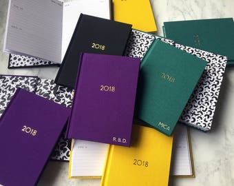 Personalised hand-bound 2018 diary / with initials foil-blocked in gold!