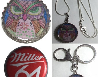 Miller 64 Beer Bottle Cap OWL Folk Art Drawing Keychain, Pendant, Necklace