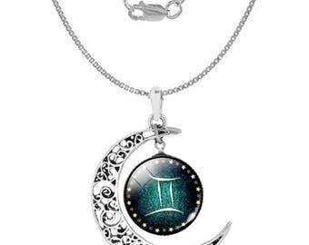 Gemini 925 Silver Crescent Moon Necklace