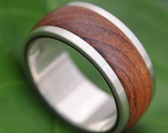 Tierra Guapinol Wood Ring - handmade wood wedding band with recycled sterling, lignum vitae, mens wood ring, wood wedding ring