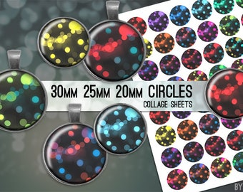 Bokeh Digital Collage Sheet 30mm 25mm 20mm Circle Download Sheets for Glass or Resin Pendants Cuff Links Round