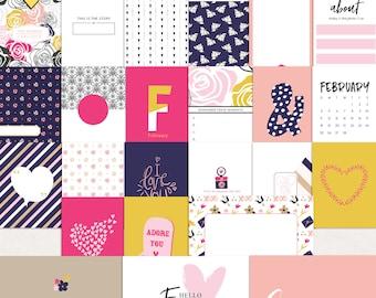 Printable journal cards, Digital journal cards, Project life printables, Digital Project life, February journaling cards, Everyday Cards