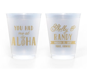 Custom Wedding Favor - Custom Wedding Favor - You Had Me at Aloha 16 oz. Frosted Cups