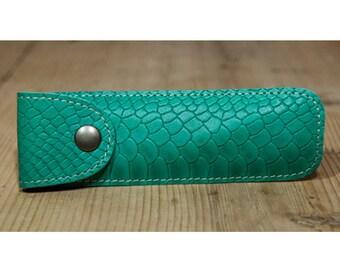 Green snakeskin effect leather pen case