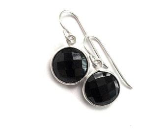 Black Onyx Earrings, Black Onyx Sterling Earrings, Classic Black Bridesmaid Formal Earring
