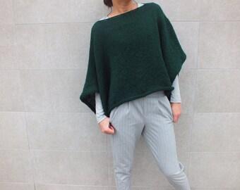 Emerald green sweater, women sweater, Short Sweater, Bohemian style, Boho chic sweater