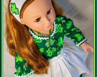 """American made Girl Doll Clothes, Green Shamrock Dress for St Patrick's Day; American Girl, Madame Alexander, Journey Girls n other 18"""" Dolls"""