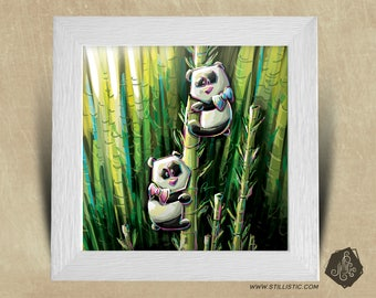 Frame square 25 x 25 birth gift with baby panda nursery kids baby Illustration