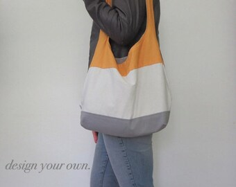 color block hobo bag. design your own over the shoulder purse with hundreds of color combo choices. large purse.