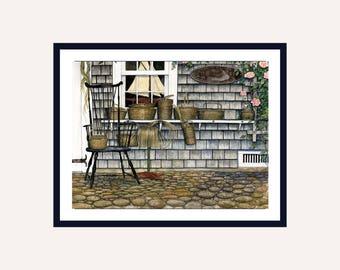 Nantucket House Print || Watercolor Print