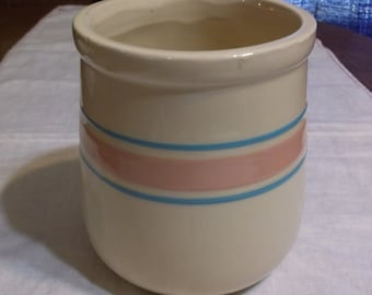 Vintage McCoy Tan Ceramic Canister with Blue and Pink Stripes