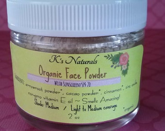 Organic Face Powder (with non-nano zinc oxide for sunscreen) - 2 oz jar