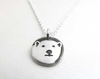 Tiny Polar Bear necklace, silver Polar Bear jewerly, eco friendly reclaimed winter arctic animal