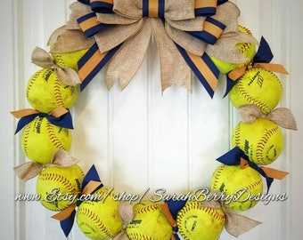Softball Wreath with burlap bow - Made with REAL balls!!! Softball and Baseball decor - Coach's Gift - MLB - Front Door Wreath-Summer wreath