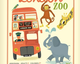 London Greetings Card - The Zoo