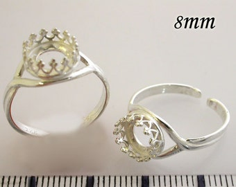 6pcs x Round 8mm Quality Cast Bezel Cup Ring For Setting Shiny Silver Plated (8680SP)