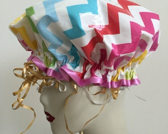 Chevron Multi Vintage Shower Cap. Fancy Shower Caps and Bath Hats for Women in Laminated Cotton. One Adult Size.