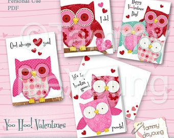 Owl Valentines Cards for kids *Girls Valentines *DIY Printable valentines with cute owls  red, pink, teal, personalization extra