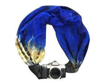 Camera Strap with Lens Pocket -  The Original Camera Scarf Strap With Zippered Pocket - Blue and Yellow Tie Dye Print