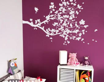 Large white decal, Living Room Decor -   Wall Vinyl Tree Branch with birds  - Wall Decal Wall Sticker -   S002 REVERSE CUT
