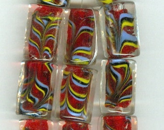 Red and Blue Murano Style Glass Tube Beads