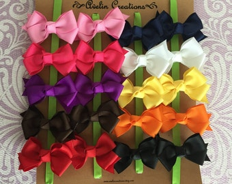 You CHOOSE colors--20 Small Classic Pigtail Bows--