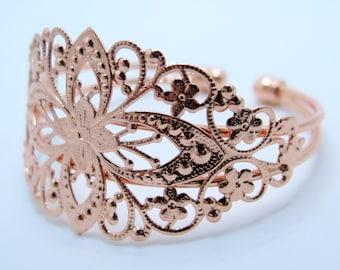 Filigree Cuff Bracelet, Rose Gold Toned Brass Bracelet, Cuff Bracelet, Adjustable Bracelet, Diy Jewelry Supplies, ZARDENIA