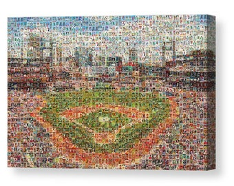 "Unique StL Cardinals Mosaic Art Made of Over 400 Player Card Images. All the Greats!  Stretched on Large Mounted Canvas 1.5"" Wood Frame."