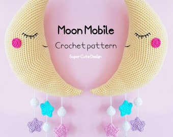 Moon Mobile PDF Pattern, crochet, amigurumi