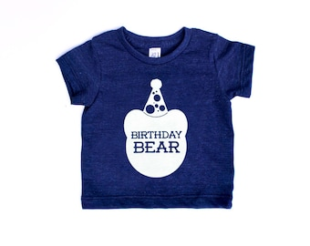 Birthday Bear TriBlend Heather Navy Blue TShirt with White Print - Infant and Toddler sizes
