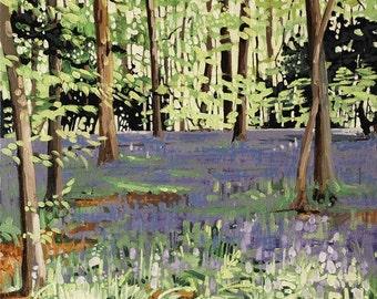 Bluebell Sunshine | greetings card | hand made | handmade | oil painting | painting | landscape | bluebells | bluebell wood | flower card
