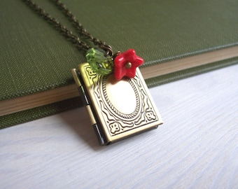 The Librarian locket necklace - book locket with red flower charm - gift for book lover - SALE