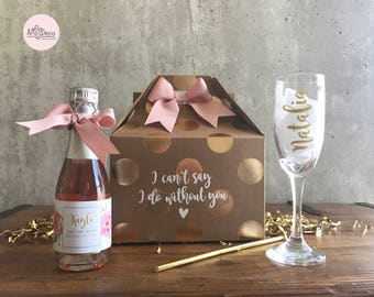 BRIDESMAID CHAMPAGNE gift set / custom bridesmaid gift kit / bridesmaid gift/ bridesmaid proposal / maid of honor gift / bridesmaid gift set