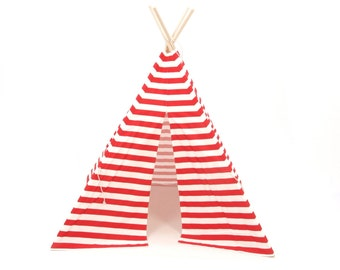 SALE!! Poles Included Red and White Narrow Stripe Four Panel Teepee Style Play Tent