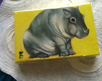 Baby Fat -  4 X 6 Inch  Handmade Painting on Canvas - Baby Hippo